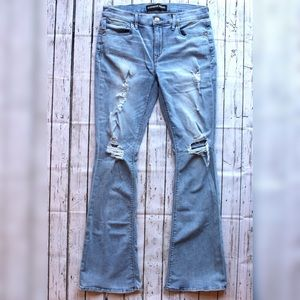 Express Distressed Bell Bottom Jeans